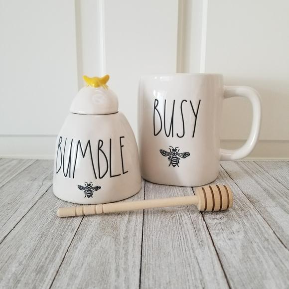 RAE DUNN Ceramic LET IT Bee BUSY Bee Mug BUMBLE Yellow Bee Honey Pot Spring LL